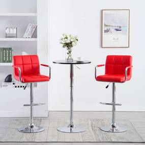 Barstoelen met armleuningen 2 st kunstleer rood