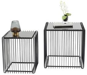 Kare Design Wire Square Metalen Bijzettafelset - 45.5 X 45.5cm.
