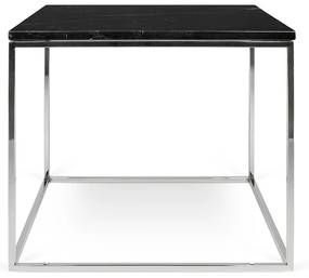 TemaHome Gleam Marble Bijzettafel Van Zwart Marmer - Chromen Onderstel - 50 X 50cm.