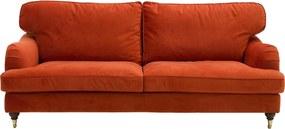 Goossens Bank Vivante Velours oranje, stof, 2,5-zits, stijlvol landelijk