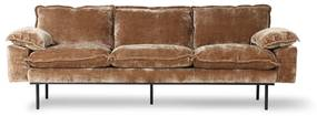 HKliving Retro Sofa Fluwelen Retro Bank Corduroy Aged Gold 3-zits