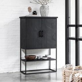 DTP Home Timeless Black Zwarte Wandkast Beam Smal - 90x40x140cm.