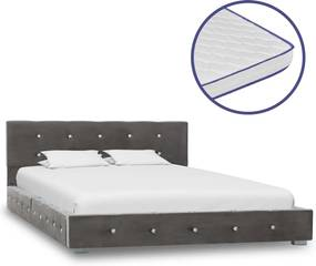 Bed met traagschuim matras fluweel grijs 120x200 cm