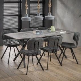 Eettafel Lakia 190 x 90cm, 3D-betonlook, kleur grijs