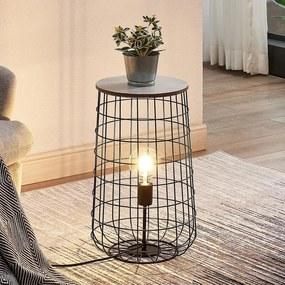 Winnie korf-tafellamp met houtplaat - lampen-24