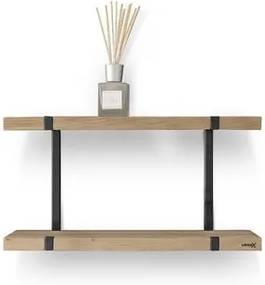 LoooX Wood wandplank duo 60x28x15cm met mat zwart ophanging eiken old grey/mat zwart WWSDUO60MZ