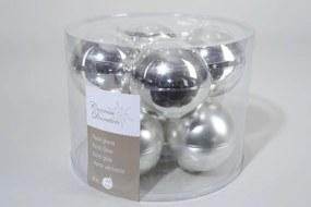 8 kerstballen zilver glans-mat 70 mm