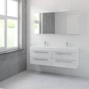 Bando badmeubelset 150 cm | Dubbele wasbak | spiegelkast | aluminium greeplijst- glans wit