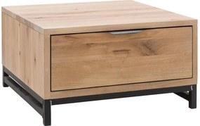 Goossens Hoektafel Max, hout eiken onbewerkt, urban industrieel, 65 x 37 x 65 cm