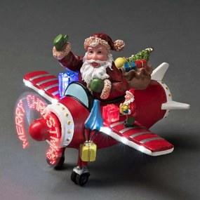 Konstsmide LED kerstman in vliegtuig - 17x25 cm - mulicolor - Leen Bakker
