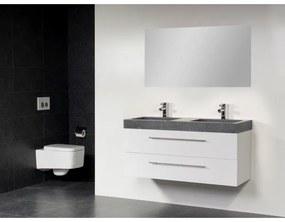 Saniclass Exclusive line Grey Stone 120 badmeubel hoogglans wit 2 laden 2 kraangaten met spiegel SW21686