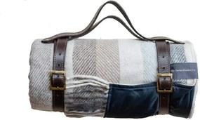Picknickkleed wol: beige, grijs, strepen Zonder band