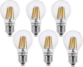 E27 LED Filament lamp 6W Warm Wit Dimbaar 6-Pack