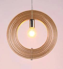 Ring Houten Design Hanglamp, E27 Fitting, ⌀50cm, Naturel