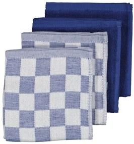 Thee-en Keukendoeken - Katoen - Donkerblauw - 4 Stuks (lichtblauw)