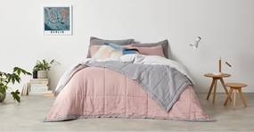 Brisa 100% linnen bedsprei, 220 x 225 cm, schemerroze en grijs