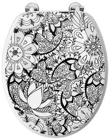 Allibert Toiletzitting 36,7x5x45 cm Geperst Hout Black Flower
