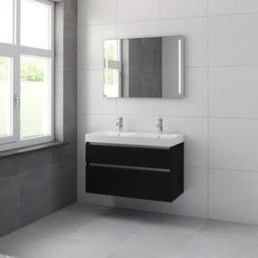Bruynzeel Pinto badmeubelset 100x65.3x46cm met spiegel dubbele kom zijde zwart 226077k