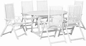 7-delige Tuinset met verlengbare tafel hout wit