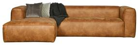 Woood Bean Leren Hoekbank Cognac - Chaise Longue Links