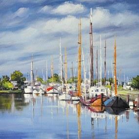 Schilderij -Handgeschilderd - Haven - multikleur - 100x100cm