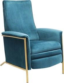 Kare Design Lazy Velvet Verstelbare Stoel Fluweel Blauw
