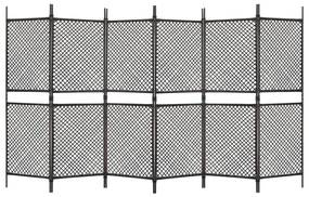 Kamerscherm met 6 panelen 360x200 cm poly rattan bruin