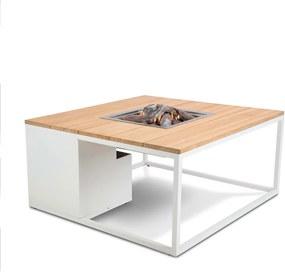 Cosi Fires Cosiloft lounge vuurtafel 100 cm wit - teak top