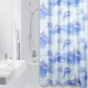 Douchegordijn Differnz Textiel Cetus Polyester Blauw 180x200cm