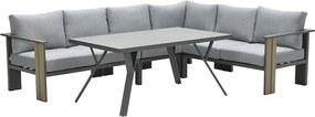 Garden Impressions Brady lounge dining set 5-delig - donker grijs