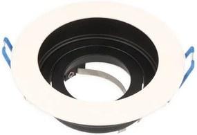 Inbouwspot, Rond, Kantelbaar, Aluminium, Zwart/Wit, Mat