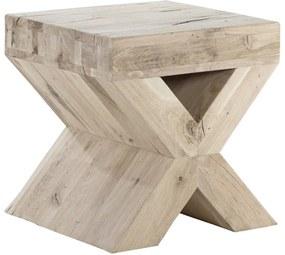 Goossens Bijzettafel Cruzado, hout eiken onbewerkt, stijlvol landelijk, 50 x 50 x 47 cm