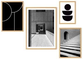 The Muse set van 4 ingelijst prints, zwart & wit