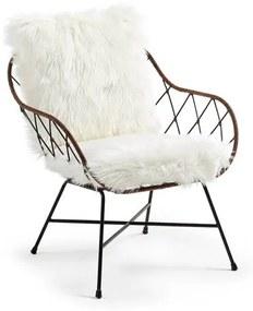 Kave Home Claque - Armstoel - Zwart Rotan - Immitatie Bont Bekijk alle a href= https://www.bol.com/nl/l/kave-home-fauteuils/N/14048+4269183052/ Kave home fauteuils/a