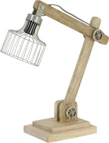 Bureaulamp EBKE - Hout Naturel + Zink
