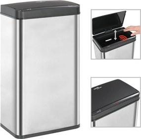 Prullenbak met automatische sensor 70 L RVS zilver en zwart