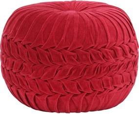 Poef smock ontwerp 40x30 cm katoenfluweel rood