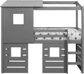 Halfhoogslaper Ties (incl. opzetdak en 3 hutwanden) - grijs - 90x200 cm - Leen Bakker