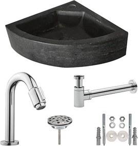 Fonteinset Natura Kwartrond Hoek 30x30x10cm Hardsteen Antraciet Chroom Toiletkraan Sifon Plug Bevestigingsset