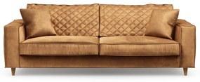 Rivièra Maison - Kendall Sofa 3,5 Seater, velvet, cognac - Kleur: bruin