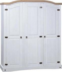 Kledingkast met 3 deuren Mexicaans grenenhout Corona-stijl wit