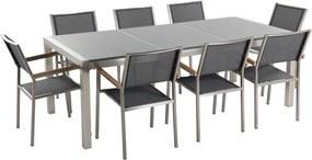 Tuinmeubel - natuurstenen tafel 220 cm grijs gepolijst met 8 grijze stoelen - GROSSETO