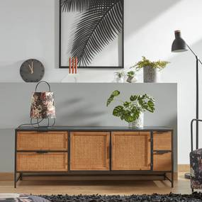 Kave Home Kyoko Zwart Tv-meubel Met Webbing - 150x40x55cm.
