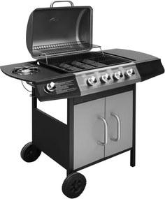 Gasbarbecue 4+1 kookzone zwart en zilver