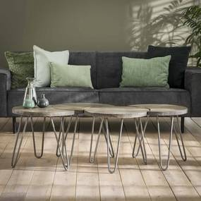 Salontafel set van 4 Donker  50 cm - Mango hout - Giga Meubel - Industrieel & robuust
