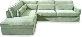 Rivièra Maison - Brompton Cross Corner Sofa Chaise Longue Left, velvet, mint - Kleur: groen