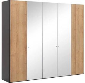 Goossens Kledingkast Easy Storage Ddk, Kledingkast 253 cm breed, 220 cm hoog, 2x draaideur en 3x spiegel draaideur midden