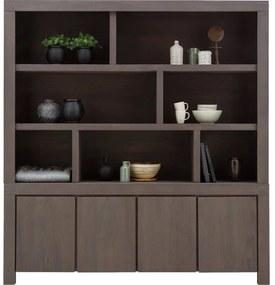 Goossens Buffetkast Clear, 7 open vakken boven, 4 dichte deuren onder, donker bruin eiken, 210 x 225 x 45 cm, stijlvol landelijk