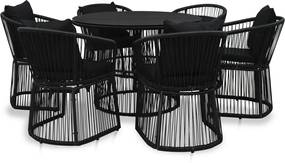 7-delige Eethoek met kussens PVC-rattan zwart