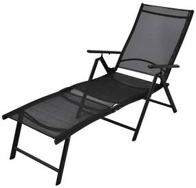 Medina Ligbed inklapbaar aluminium zwart